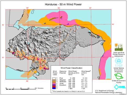 honduras wind map