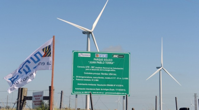 Generación eólica creció 30% en Uruguay