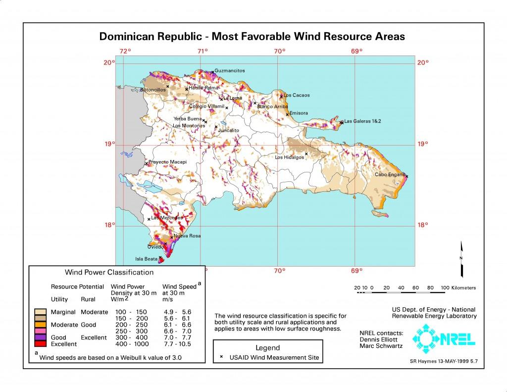 Mapa Eólico República Dominicana