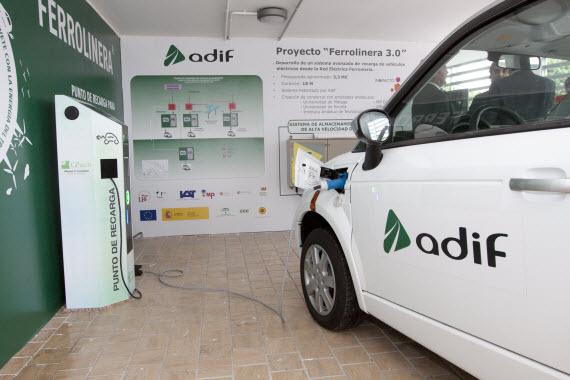 Recarga de coches eléctricos con la energía de frenado de los trenes