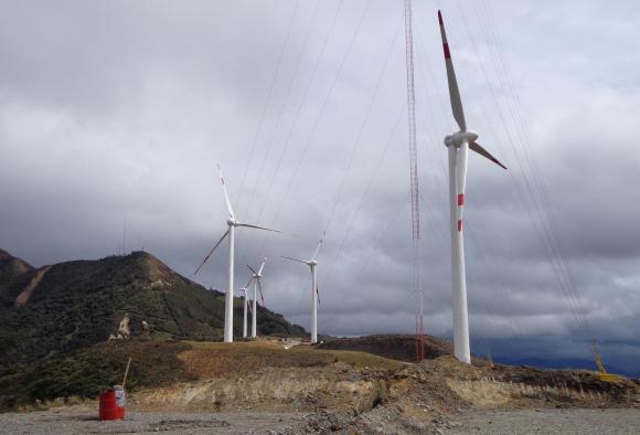 Eólica en Ecuador: parque eólico en el sur de Ecuador con aerogeneradores de Goldwind