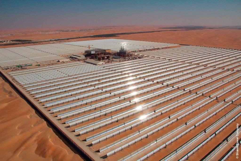 Masdar, Total y Abengoa inauguran Shams 1, la mayor central termosolar cilindroparabólica en operación del mundo