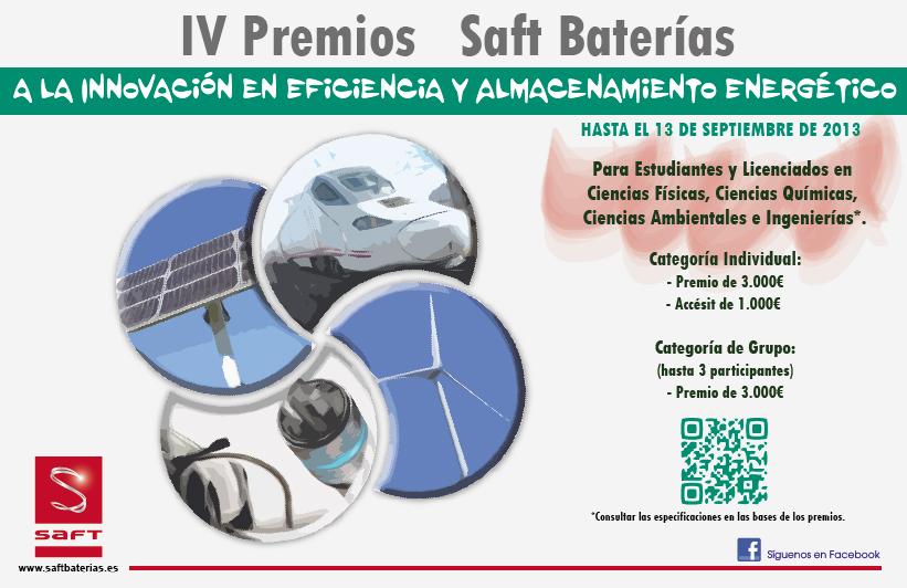 Saft Baterías convoca sus IV Premios universitarios a la Innovación en Eficiencia y Almacenamiento Energético