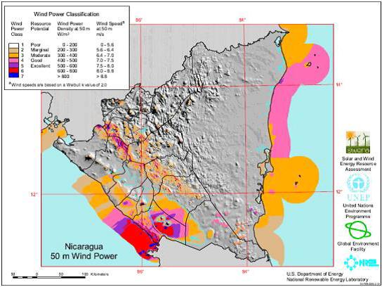 nicaragua wind map