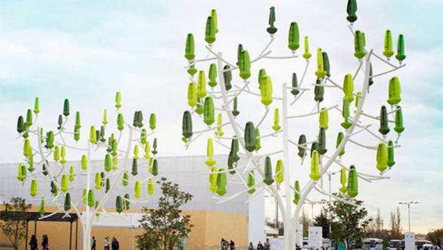 Crean árbol artifical que convierte el viento en energía