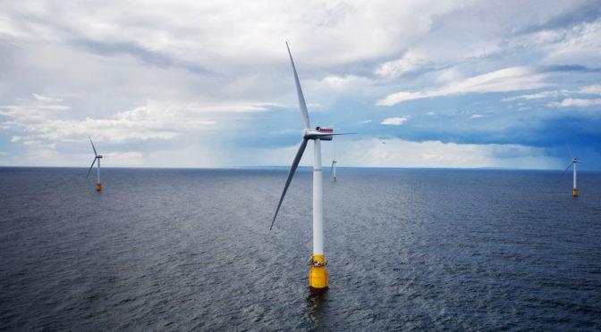 Primera central eólica marina flotante ya funciona en Escocia, Reino Unido