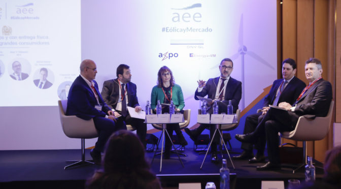 La presidenta de AEE, Rocío Sicre, destaca el papel protagonista de la eólica