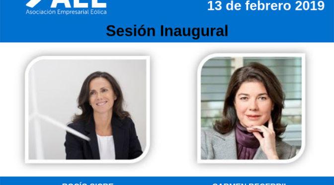 Carmen Becerril, vicepresidenta de OMIE, y Rocío Sicre, presidenta de AEE, inauguran  la jornada 'La Eólica y el Mercado'