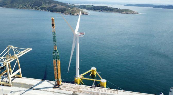 La turbina eólica navega al proyecto WindFloat Atlantic para su instalación