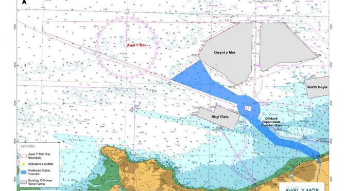 La central de energía eólica marina Awel y Môr liderado por RWE describe el corredor de transmisión preferido